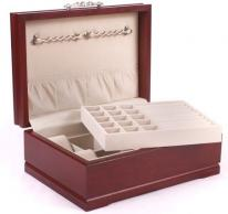 American Chest Solid Hardwood Cherry Jewelry Box in Mahogany Finish