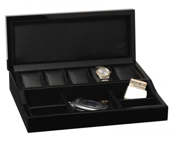 Mens modern black wood dresser valet box holds 5 watches for Men s jewelry box for watches and cufflinks