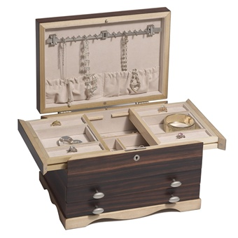 Solid wood ebony jewelry box with locking necklace storage for Solid wood jewelry chest