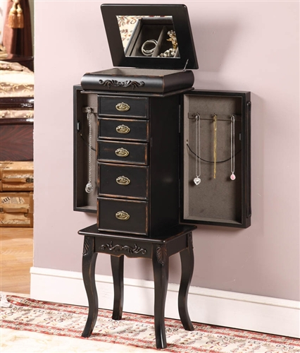 Black Wood Armoire ~ Distressed black wood jewelry armoire floor box chest