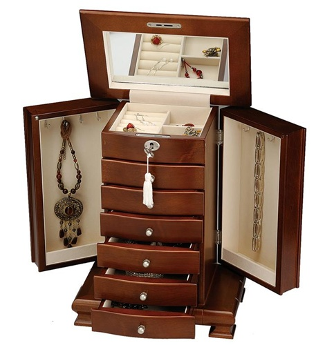 Tall Dresser Top Walnut Jewelry Armoire Locking Lid