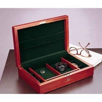 mens jewelry box locking cherry wood valet by reed barton
