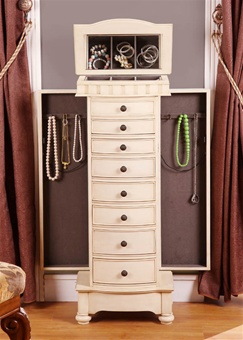 antique beige floor standing jewelry box cabinet. Black Bedroom Furniture Sets. Home Design Ideas