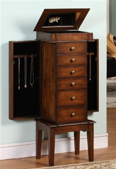 Six Drawer Mahogany Jewelry Armoire Necklace Sides