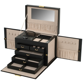 Large Jewelry Train Case With Side Panels For Necklaces